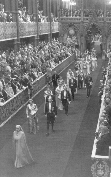 Princess Alice of Battenberg (the mother of the Duke of Edinburgh) attending the coronation of Queen Elizabeth II wearing her nun's habit. 1953.