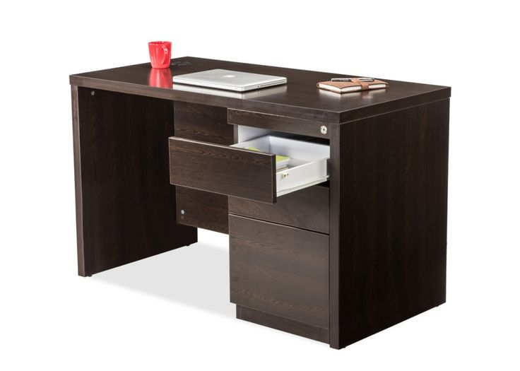 DWS/34753 Functional Office Desk from Durian has a simple table top with closed side panels, this table comes with a three drawer storage along with a wire manager.