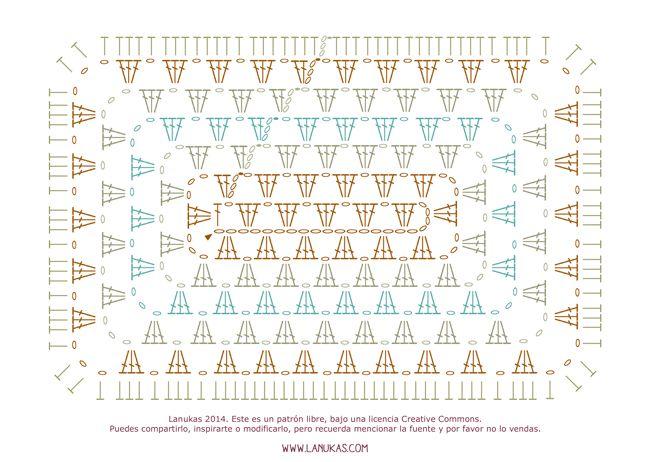 Patrón gratuito de cojín granny rectangular Natura XL