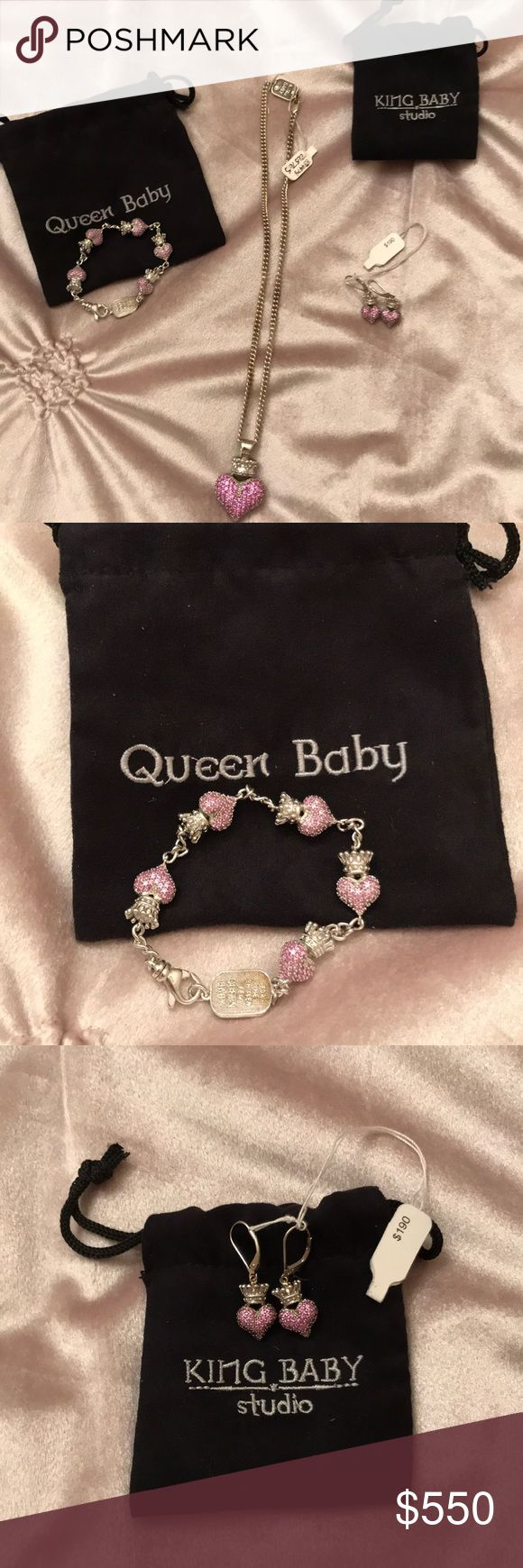 King baby jewelry King baby necklace bracelet and earrings set. Sterling with Pink stones. All brand new protective pouches included Will sell pieces separately or as a set. Open for offers king baby Jewelry