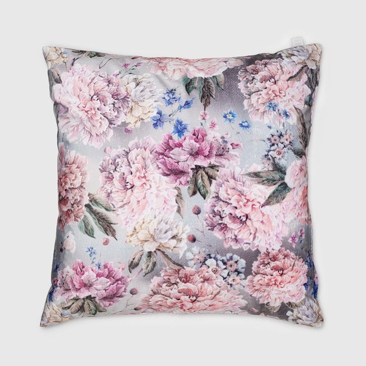 Lennol | DIANA Flower print velvet cushion pastel colors