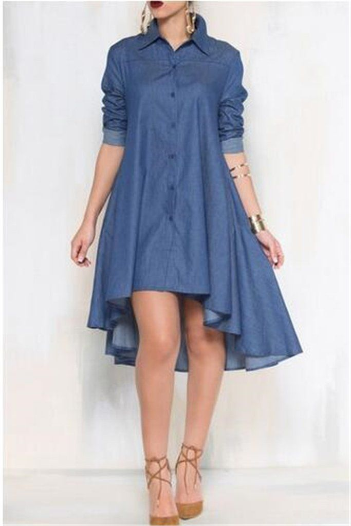 349647865 Irregular Hem Denim Dress in 2019