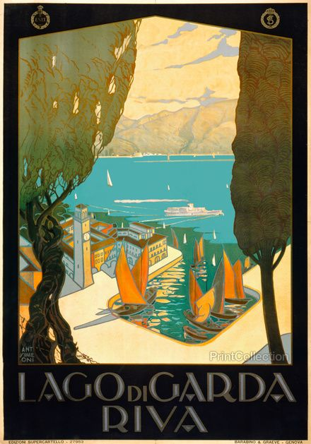 Lago di Garda vintage travel poster from the 1920's. Click link to see more vintage prints and posters from printcollection.com!