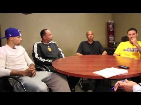 9.26.13   Daniel Brown of the San Jose Mercury News speaks with Stephen and Dell Curry and Klay and Mychal Thompson prior to the first-ever Splash Brothers Parent-Child Fantasy Basketball Clinic at the Warriors Practice Facility.