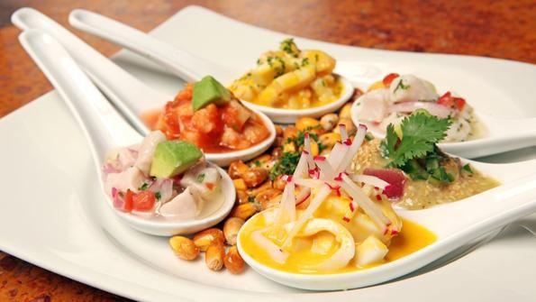 Ceviche Peruano - Executive chef Oscar del Rivero, Jaguar Ceviche Spoon Bar and Latam Grill, Coconut Grove, FL | http://restaurant-hospitality.com/food-recipes/ceviche-peruano?mid=pinterest