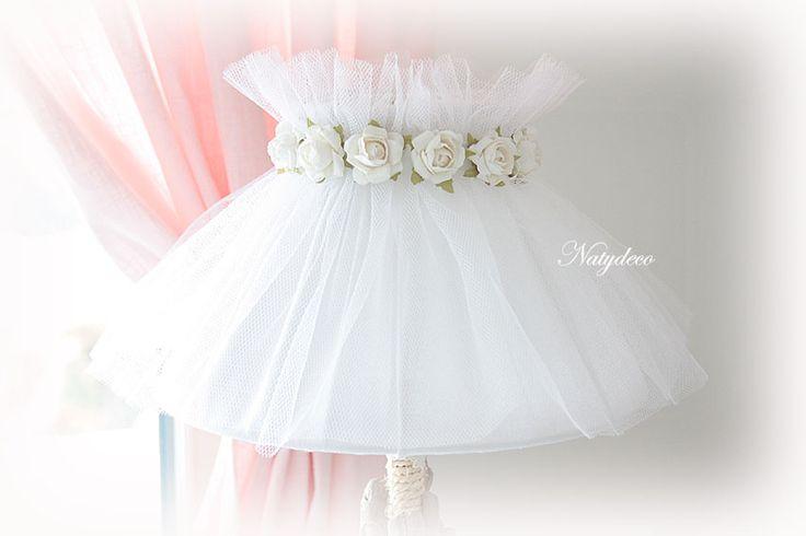 création NATYDECO Abat jour en tulle blanc et lin déhoussable et lavable http://www.natydecocorse.com