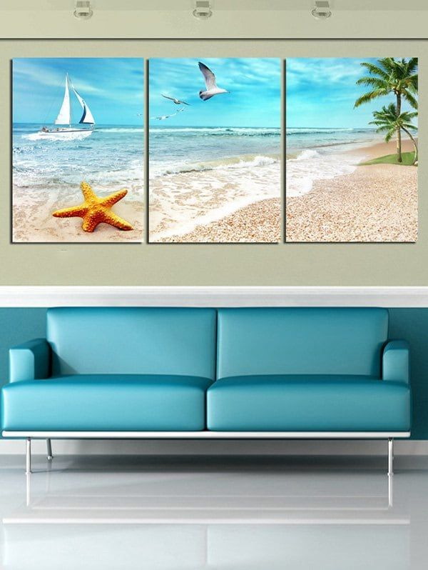 Starfish Beach Scenery Printed Wall Art Canvas Paintings Multicolor 3pc 12 18 Inch No Frame Save Wall Scene Wall Art Prints Canvas Wall Art Scenery