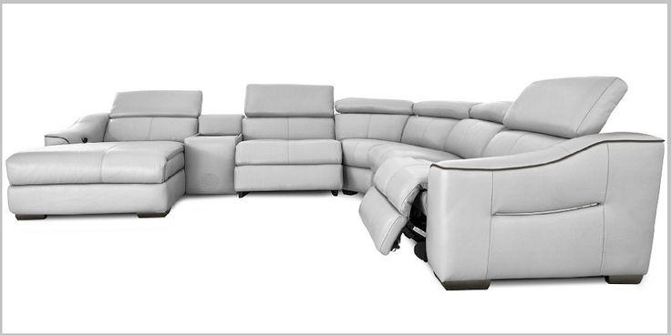 Silver Grey Leather Corner Sofa
