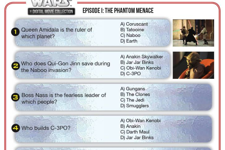 Jedi in training need to know the facts about the Star Wars universe. Master Yoda has compiled a list of questions based on the movies. Test your knowledge to see if you are ready to be a real Jedi.
