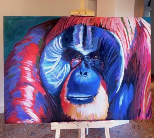 """Waldmensch""  #animal#ape#orangutan#contemporaryart#painting"