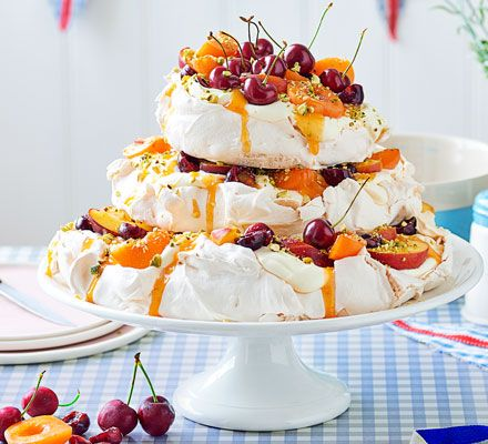 These delicate meringues make a showstopping summer dessert. Layer up before serving to avoid your tower collapsing