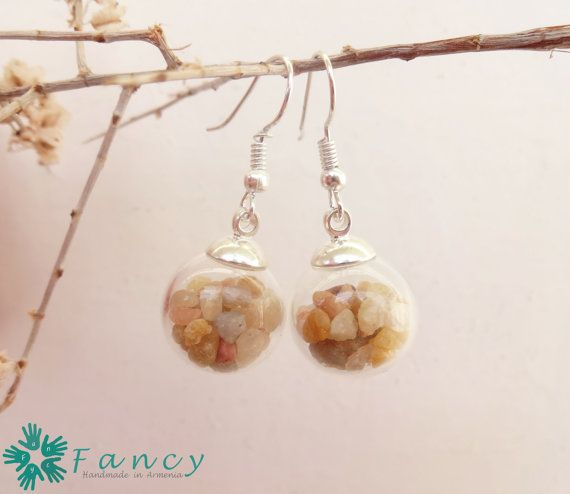 Beach stone jewelry  beach earrings  sea by FancyHandmadeArmenia