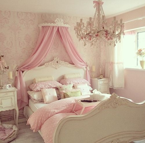 Pink Curtains Canopy Mounted To The Wall Could Break Up Grey