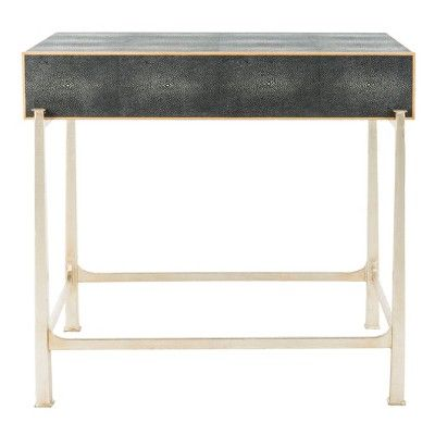 Best Cleo Faux Shagreen 1 Drawer Side Table Black Safavieh In 400 x 300