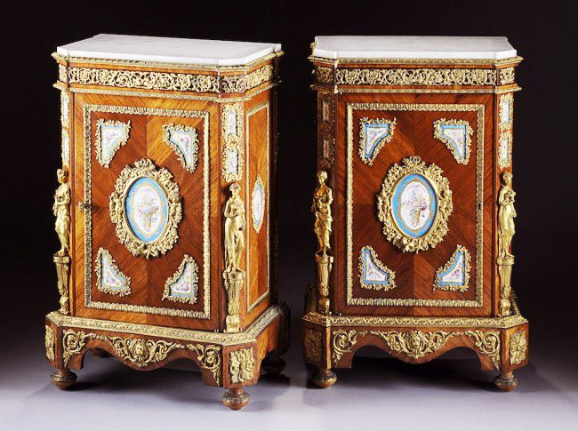 A very fine pair of french napoleon iii figural ormolu and for Meuble for french furniture