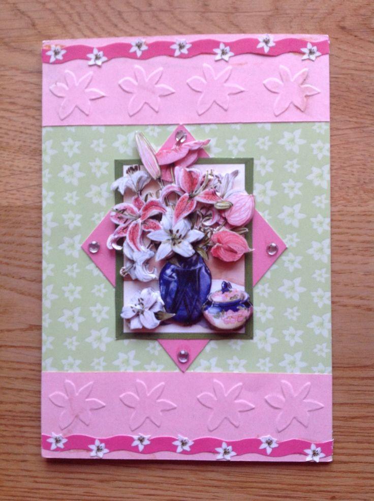 3D & embossed card with lilies - 3D & embossingkaart met lelies