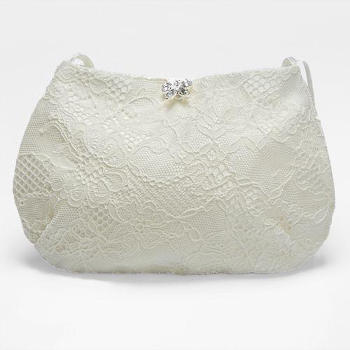 Brauttasche 'Mabel' mit Spitze und Strass-Schmetterling, creme