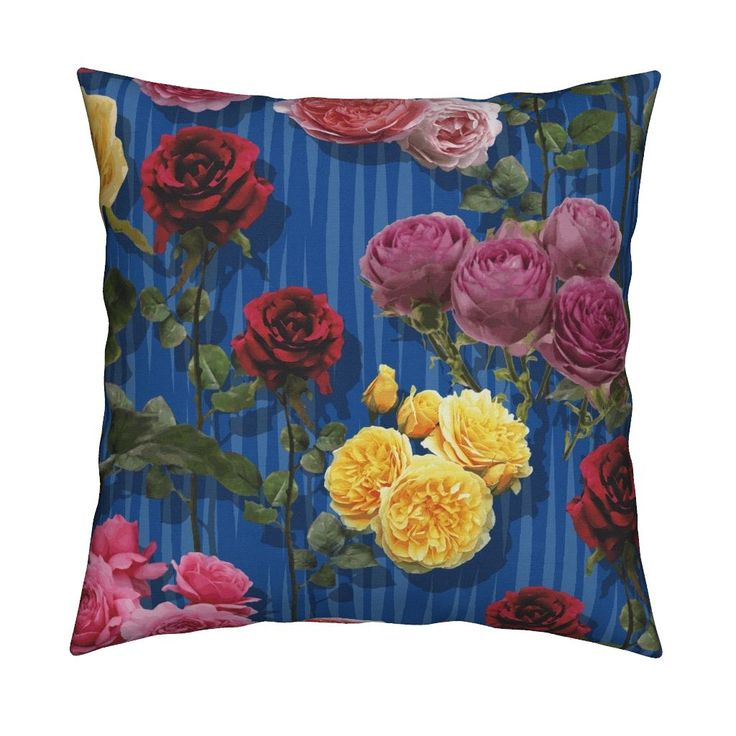 Catalan Throw Pillow featuring Blue roses by angelfraser   Roostery Home Decor