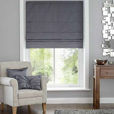 Hotel Venice Graphite Grey Blackout Roman Blind Dunelm