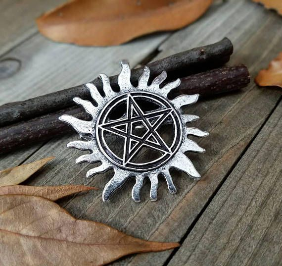 Keep demons away with this convenient supernatural anti possession pin. Perfect for backpacks, coats, clothing, anything you feel like pinning it to! - Silver-tone Anti possession pentacle - Stainless steel locking safety pin back Shipping Information: >Orders are shipped 6