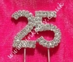 Silver Diamante Number Cake Topper {25}, made with beautiful quality grade A diamante rhinestones on a silver plated metal base. The number measures approx: 48mm across by 40mm high with 2 silver 80mm stems.    The perfect sparkly addition to your cupcakes, anniversary and birthday cakes!