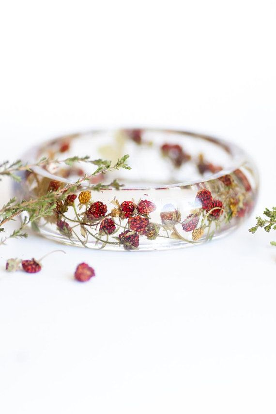 Strawberry Bangle Bracelet Miniature Jewelry Resin Natural Berry Forest Inspired
