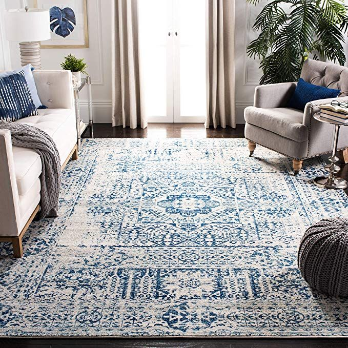 Amazon Com Safavieh Evk260c 9 Area Rug 9 X 12 Ivory Home Kitchen Distressed Rugs Inexpensive Rugs Blue Area Rugs