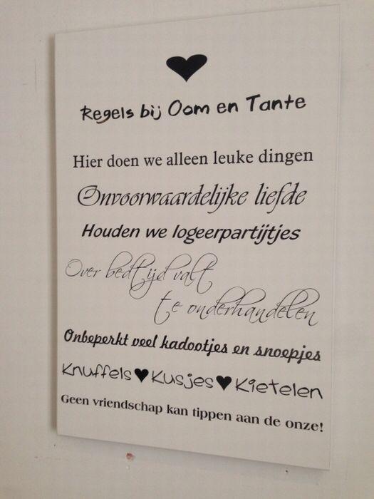 Oom En Tante Wandbord Teksten Tekstborden Pinterest