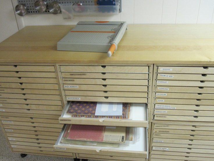 love the drawers for cardstock, vintage papers, clip art, vintage postcard collection, maps...Wow