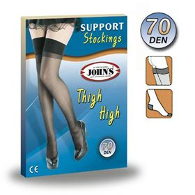 ELASTIC STOCKINGS AG 70 DEN JOHN'S® The elastic stockings JOHN'S for veins supports the legs of many of thousands of women. The light compression stockings are constructed with state of art technology and are recommended from the doctors in cases of venous insufficient.