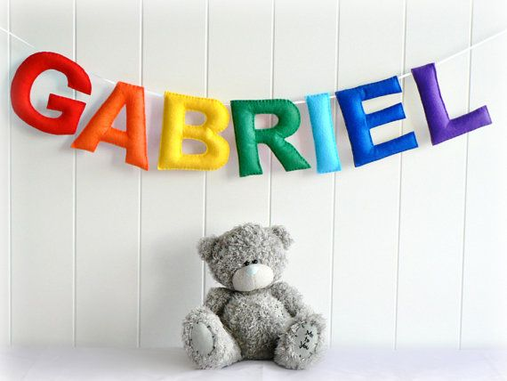 Personalized felt name banner name garland You by LullabyMobiles