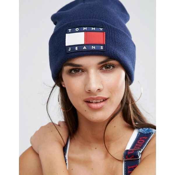 Tommy Jeans Logo Beanie ($59) ❤ liked on Polyvore featuring accessories, hats, navy, cotton beanie, tommy hilfiger hats, navy blue beanie hat, logo beanie hats and beanie hat