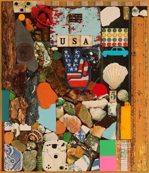 USA Series - Stones & Shells (2014) 17 x 20 inches (paper size: 25.5 x 29 inches) Screenprint with collage, glitter and glazes, edition of 100 Signed by the artist