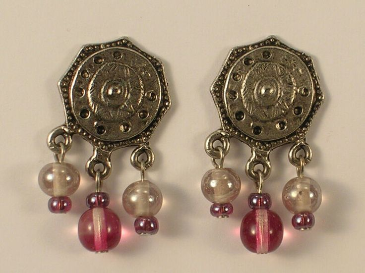 Boho Asian Coin Look Pink & White Beads w/Silver Colored Metal Pierced Earrings …