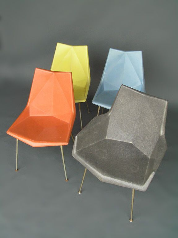 Paul McCobb; Faceted Fiberglass Chairs, 1950s.