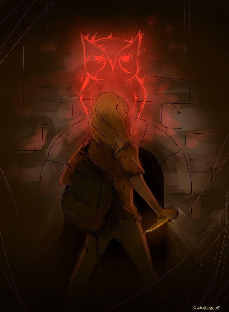 """Annabeth wondered if that burning mark was based on a real scared owl, if so, when she survived she was going to find that owl and punch it in the face. the thought lifted her spirits."" - I love Annabeth"