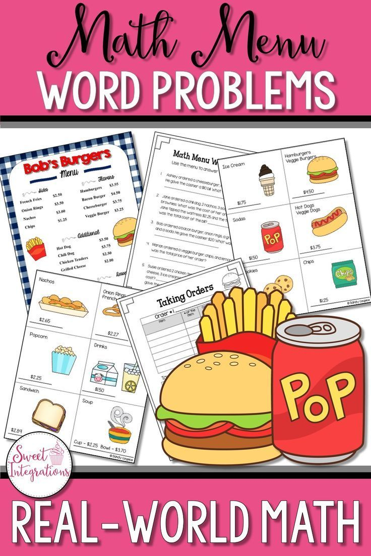 Math Restaurant Menu Real World Math Problems Fast Food Theme Word Problems Math Problems Fun Math