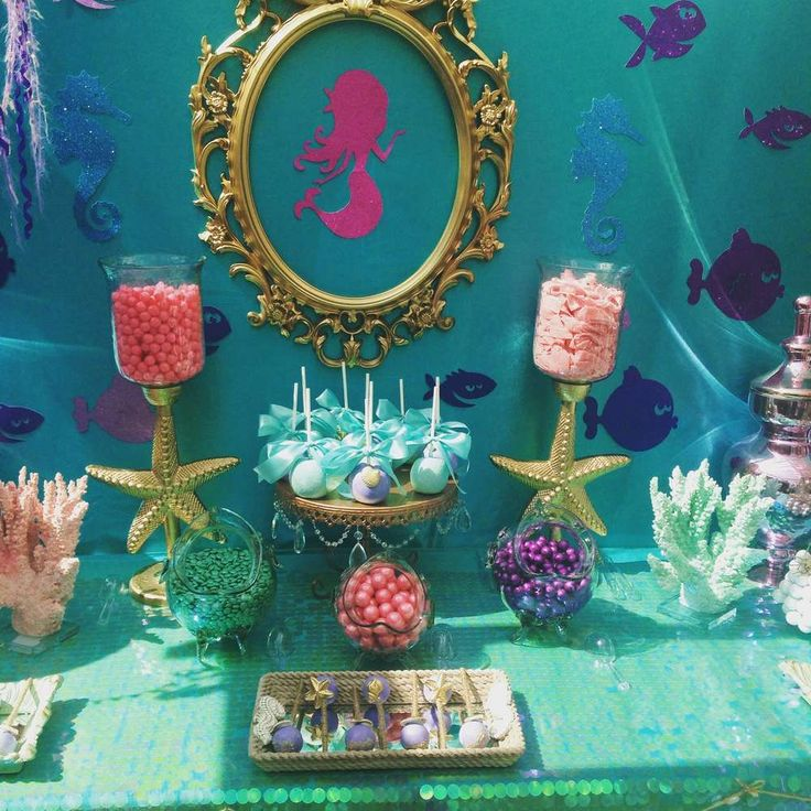 Decorations at a mermaid birthday party! See more party ideas at CatchMyParty.com!