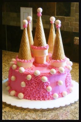 Princess Castle Cake with Ice Cream Cones - what a great idea!