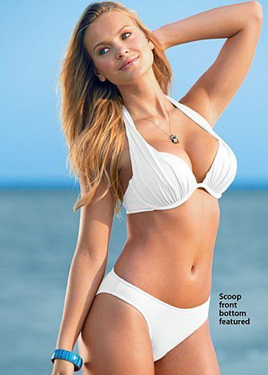 9f89ed9dee Diva mega bra and low rise or scoop front moderate bottom in white    Swimwear   Bikinis, Underwire swimwear und Bikini bottom styles
