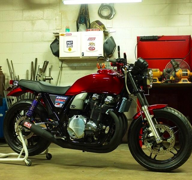 Cb 1100 by Jeff Wright of Church of Choppers. Yoshimura exhaust, DLC coated fork tubes, Hyperpro shocks.
