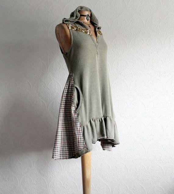 Olive Green Hooded Sundress Boho CHic Dress by BrokenGhostClothing