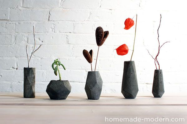 DIY Modern Concrete Geometric Vases DIY Flower Vases That Are Chic & Fancy