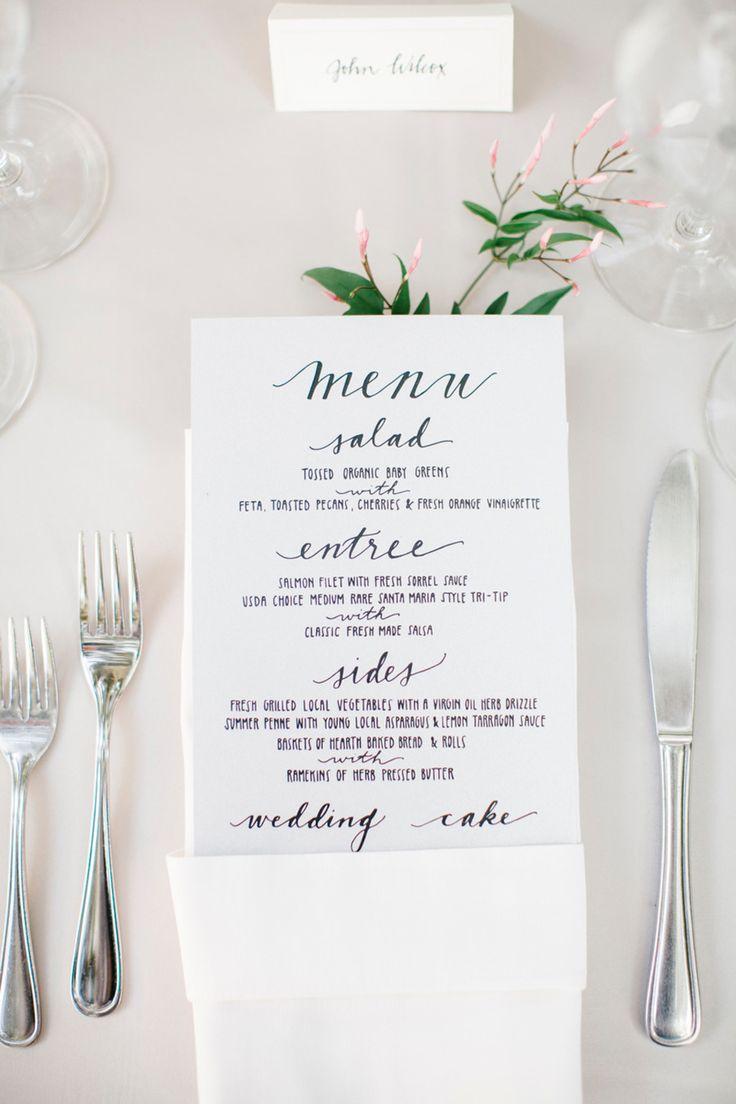 Menu | Romantic Winery Wedding