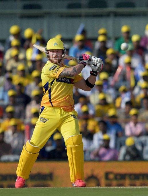 Chennai Super Kings Player Brendon McCullum Plays A Shot During