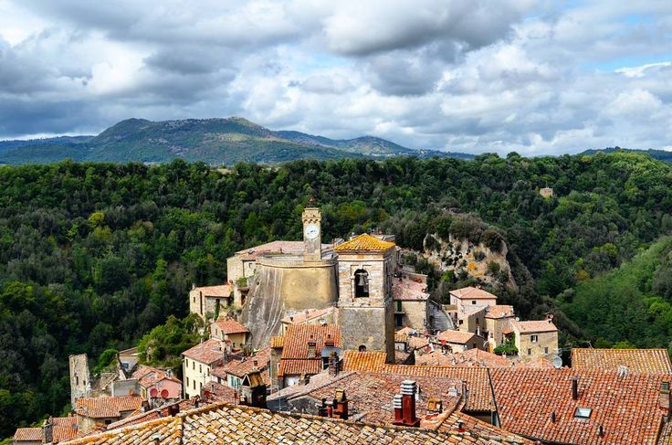 Sorano is an ancient medieval hill town  hanging from a tuff stone over the Lente River in Southern Tuscany Italy.