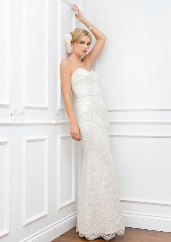 Emma - Wendy Makin Couture. Art Deco lace. Strapless Wedding gown. Beaded lace. Classic. Slim. Australian.