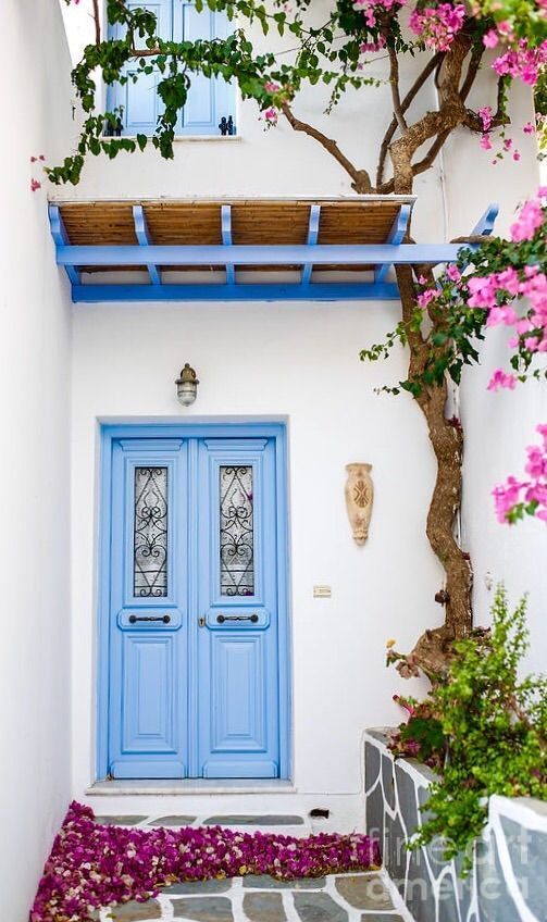 Paros, Greece. Use as the base of the plates with maybe a yellow accented linen ...