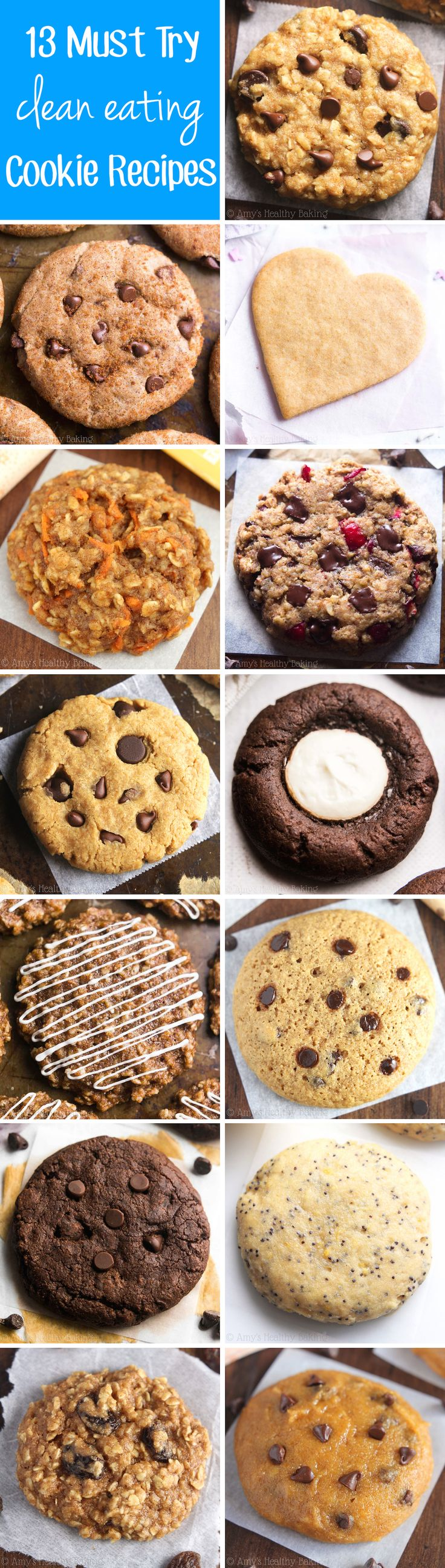 13 Must Try Clean Eating Cookie Recipes -- so easy & good! They're all made with NO butter, refined flour or sugar! And they don't taste healthy at all!