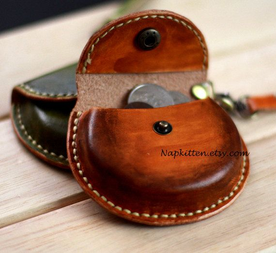 Leather ear buds pouch case bag leather coin purse by napkitten